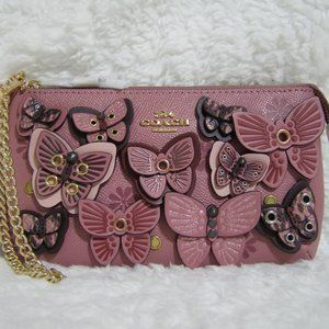 Coach Leather Butterfly Large Wristlet (Ro…